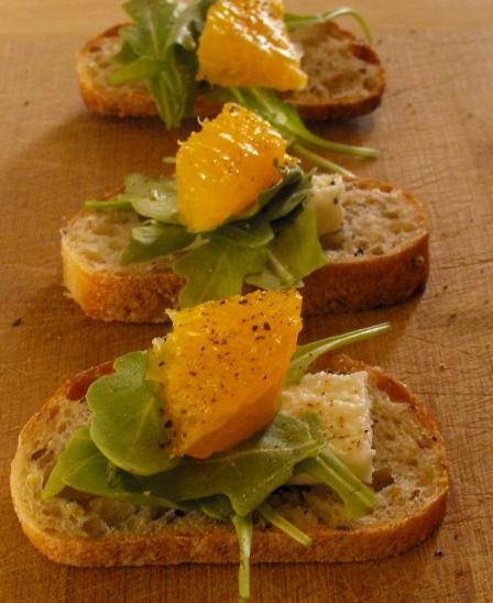 Arugula Orange Feta Bites