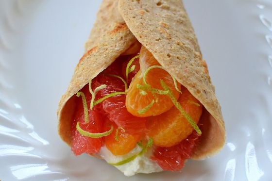 Citrus Fruit and Ricotta Stuffed Sweet Crepes